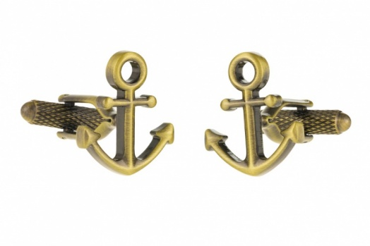 Burnished Gold Colour Ships Anchor Cufflinks